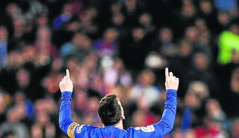 Leo Messi celebra un gol durant un partit d'aquesta temporada.