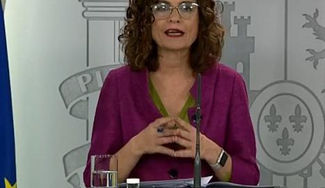La portaveu del Govern estatal, María Jesús Montero.