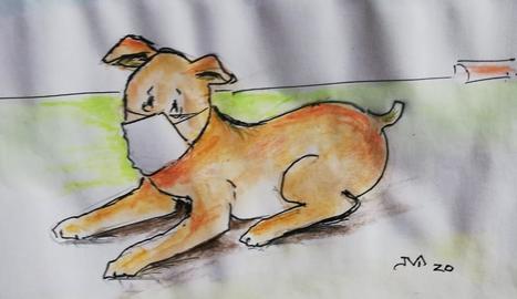 El Rovelló i un gat, dibuixats ahir per Vallverdú en el Dia del Llibre Infantil.
