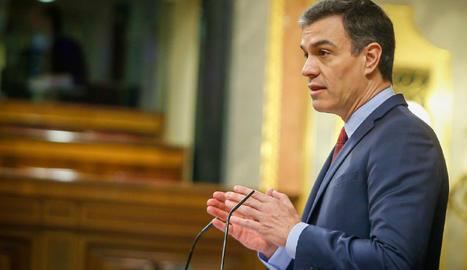 El president del Govern espanyol, Pedro Sánchez, aquest dijous al Congrés.