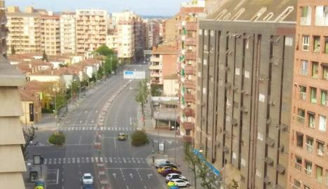 Control policial ahir a Lleida per vigilar els desplaçaments.