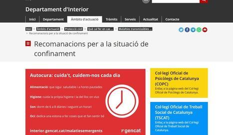 Protecció Civil recull en un web les principals recomanacions durant el confinament