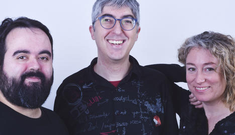 Tres dels quatre impulsors d'Ilerdam Videas: (d'esquerra a dreta) Carles Hernández, Jordi Prenafeta i Pilar Bosch.