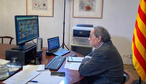 El president Torra, en la reunió telemàtica ahir amb el president del Govern central, Pedro Sánchez, i la resta de presidents autonòmics.