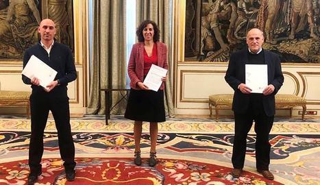 Luis Rubiales, Irene Lozano, presidenda del CSD, i Javier Tebas, a la reunió de dissabte.