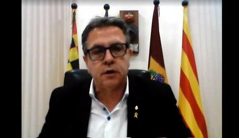 El president de la Diputació de Lleida, Joan Talarn, durant el primer ple telemàtic de la institució.