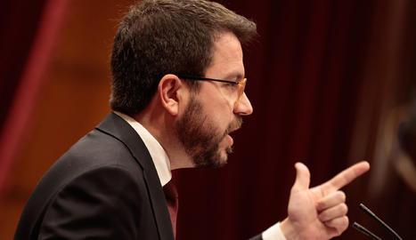 El vicepresident del Govern i conseller d'Economia i Hisenda, Pere Aragonès, durant el ple dels pressupostos.