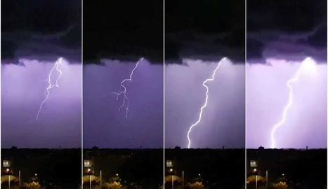 Espectaculars imatges de la tempesta d'aquesta matinada a Lleida