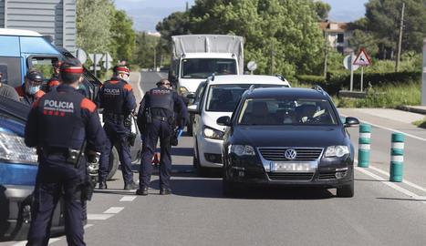 Un dels controls d'ahir dels Mossos d'Esquadra a Lleida.