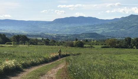 Tremp - Una dona corrent el passat cap de setmana per la ruta del camí dels Cavalls del terme municipal de Tremp.