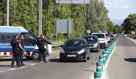 Imatge d'un control dijous passat a la sortida de Lleida.