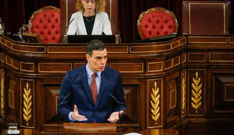 El president del Govern espanyol, Pedro Sánchez, aquest dimecres al Congrés.