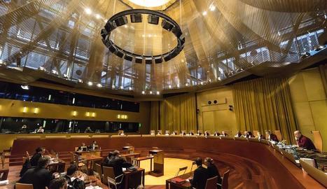 Una vista a la gran sala del Tribunal de Justícia Europeu, amb seu a Luxemburg.