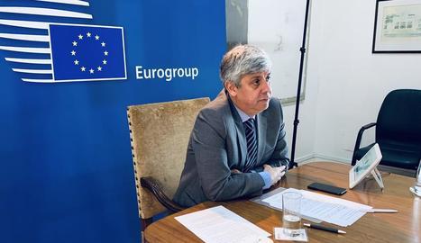 El coronavirus obliga que l'Eurogrup es reuneixi a distància. A la imatge, el seu líder, Mário Centeno.