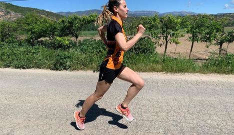 L'atleta Noemí Aumedes, a l'entrenar-se el cap de setmana passat.