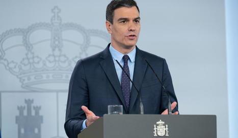 El president Pedro Sánchez durant la compareixença d'ahir.