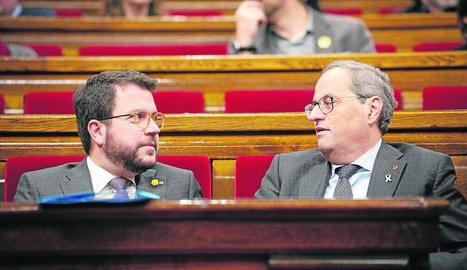El president Torra i el vicepresident Aragonès al Parlament, en una imatge del desembre del 2019.