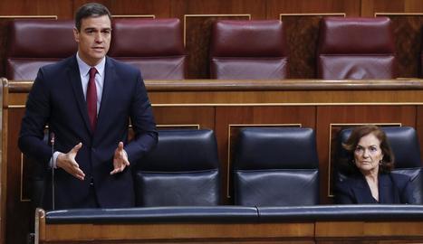 El president Pedro Sánchez, ahir durant la sessió de control.