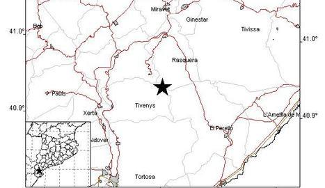 Terratrèmol de 2,4 graus amb epicentre a la Ribera d'Ebre