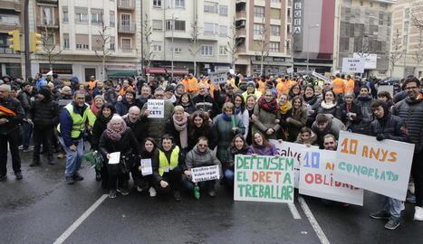 Imatge d'arxiu de la manifestació convocada per les entitats l'any passat per reclamar més ajuts per als CET de Lleida.