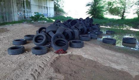 Els pneumàtics que van aparèixer al costat de la carretera C-13 a la partida de la Femosa.