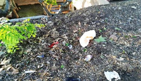 Escombraries a terra a la zona del Salt del Duran.