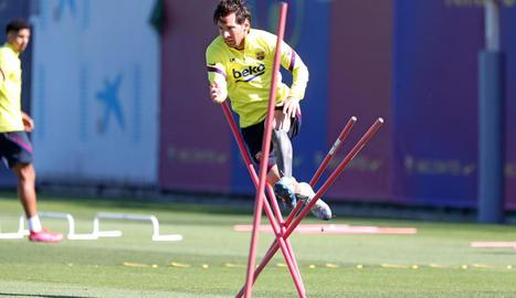 Jordi Alba, durant la sessió d'ahir.