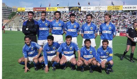Alineació del Lleida en el partit davant del Mirandés, el 1990.