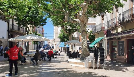Terrasses a la plaça Major de Mollerussa.