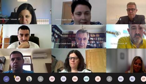 Una imatge de la Junta Rectora de la institució cultural lleidatana celebrada ahir de forma virtual.