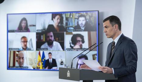 El president del Govern de l'Estat, Pedro Sánchez, ahir en roda de premsa al palau de la Moncloa.