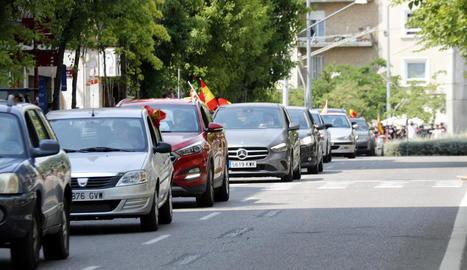 Marxa de Vox contra el Govern central, ahir a Lleida.