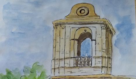 Dibuix realitzat per la Teresa Triquell Cunillera de la Torre campanar de la Catedral Nova