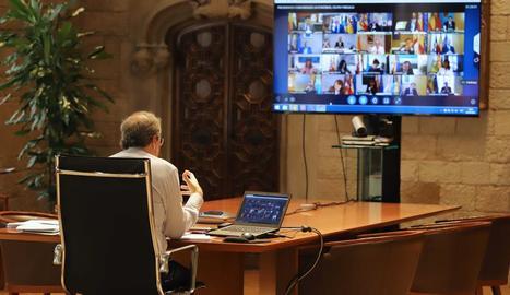 El president Torra, ahir, durant la seua intervenció en la reunió de líders autonòmics.