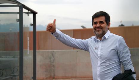 Jordi Sànchez, al sortir de la presó al gener per disfrutar d'uns dies de permís.