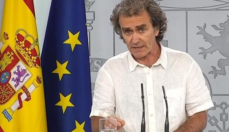Fernando Simón, ahir, en roda de premsa.