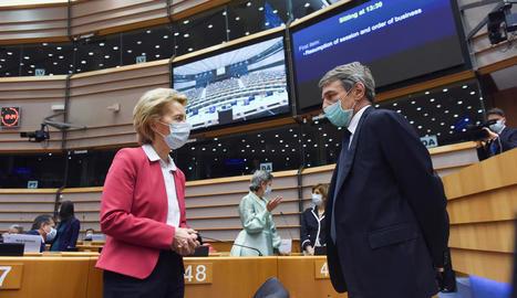 Els presidents de la Comissió Europea i de l'Europarlament, Ursula von der Leyen i David Sassoli.