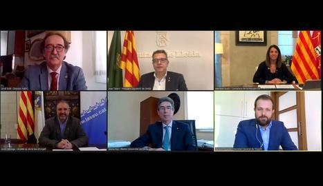 Representants de la Generalitat, Diputació, ajuntament, Inefc i UdL, ahir durant la firma del conveni que es va fer telemàticament.