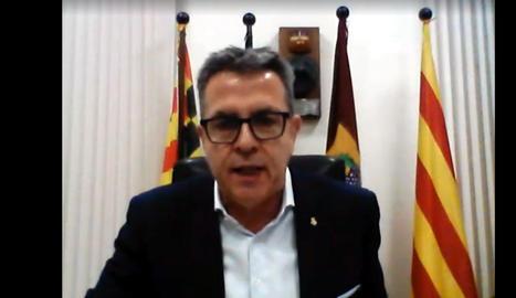Captura de pantalla del president de la Diputació de Lleida, Joan Talarn, durant el ple telemàtic d'aquest dijous.