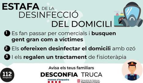La Policia Local d'un municipi de Lleida alerta d'una estafa a gent gran amb una suposada desinfecció del domicili