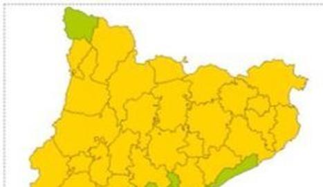 Mapa de perill per pluja intensa per a aquest dimarts.