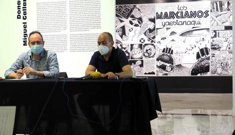 El director del museu, Jesús Navarro, i el regidor de Cultura, Jaume Rutllant, van presentar les obres.