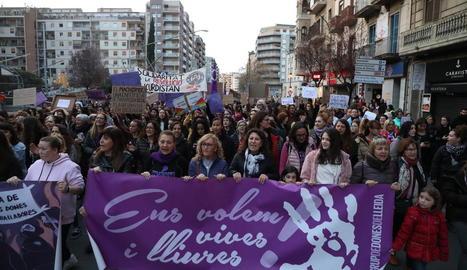 Concentració el 8 de març passat als carrers de Lleida.