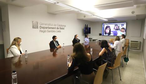 El president de la Generalitat, Quim Torra, reunit a Lleida amb la consellera de Salut, Alba Vergés, i amb la gerent de la Regió Sanitària Lleida i responsables atenció primària.