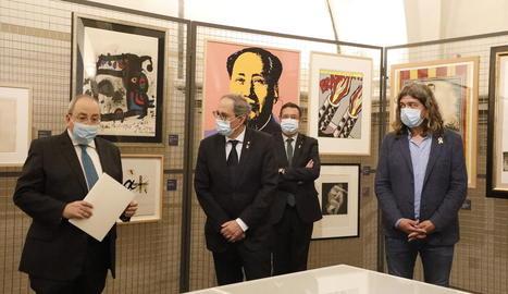 Antoni Gelonch va agrair la visita del president Torra a la mostra de gravats al Museu de Lleida.