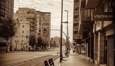 Lleida, deserta en els primers dies de confinament