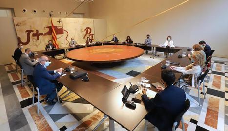 Reunió del Consell Executiu, ahir, al Palau de la Generalitat.