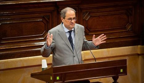 El president de la Generalitat, Quim Torra, durant la intervenció al ple d'ahir.