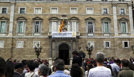 Imatge d'arxiu de la pancarta que penjava del balcó de la Generalitat.