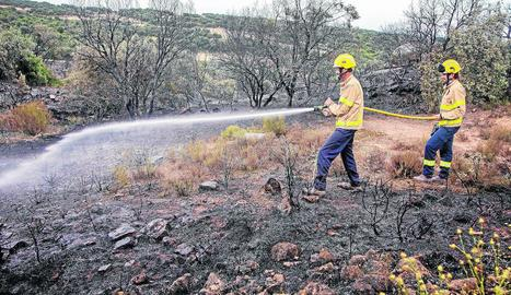 Imatge del foc de divendres passat a la Donzell d'Urgell.